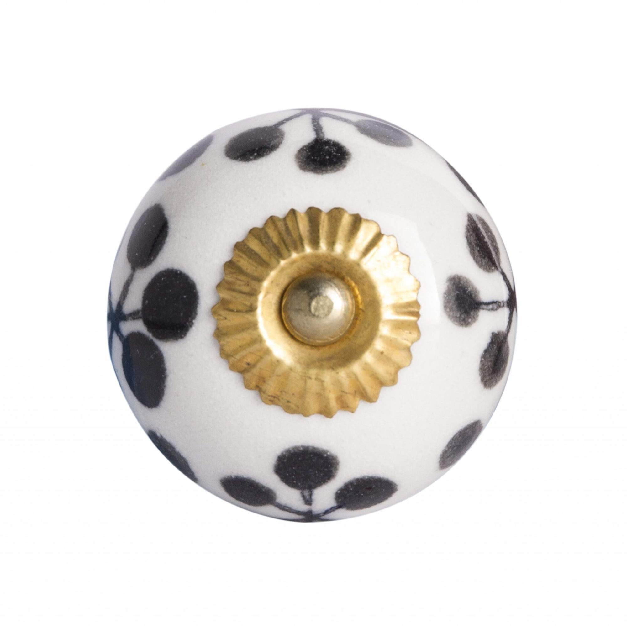 White, Black And Gold - Knobs 12-Pack
