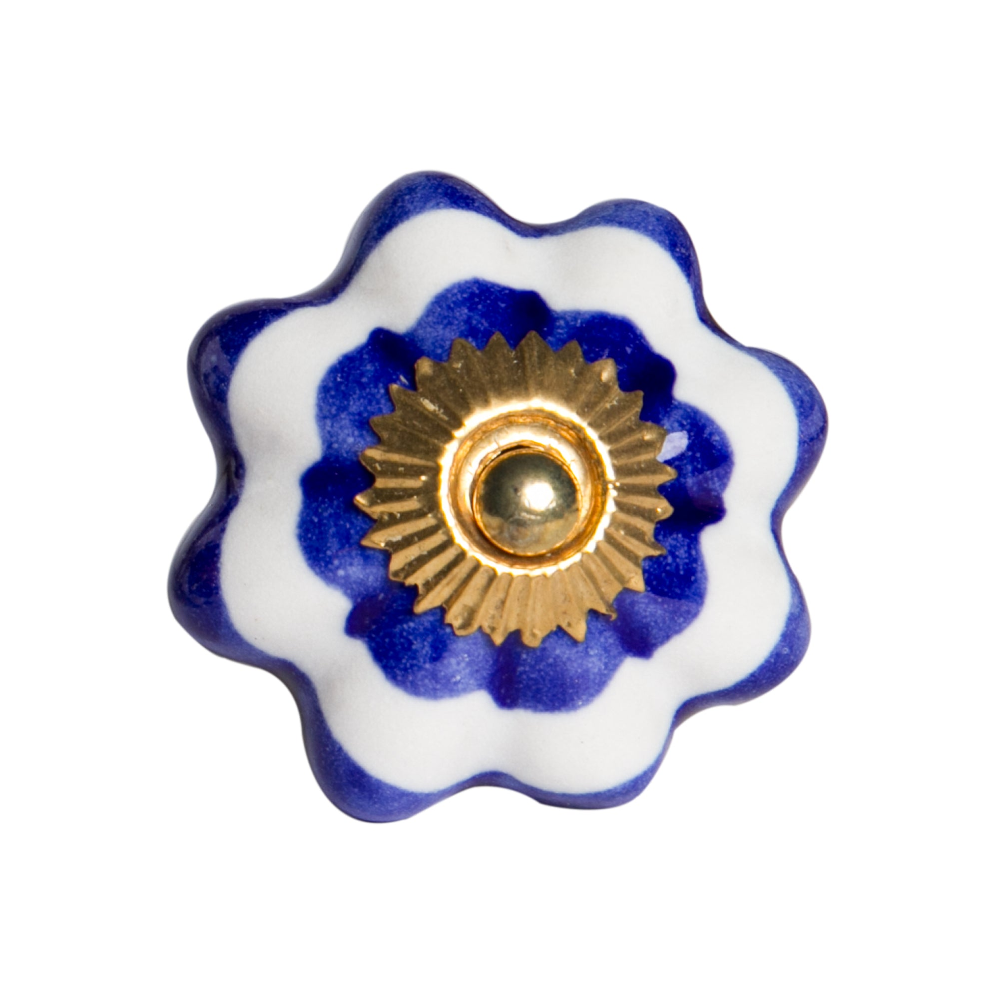 White, Blue And Gold - Knobs 12-Pack
