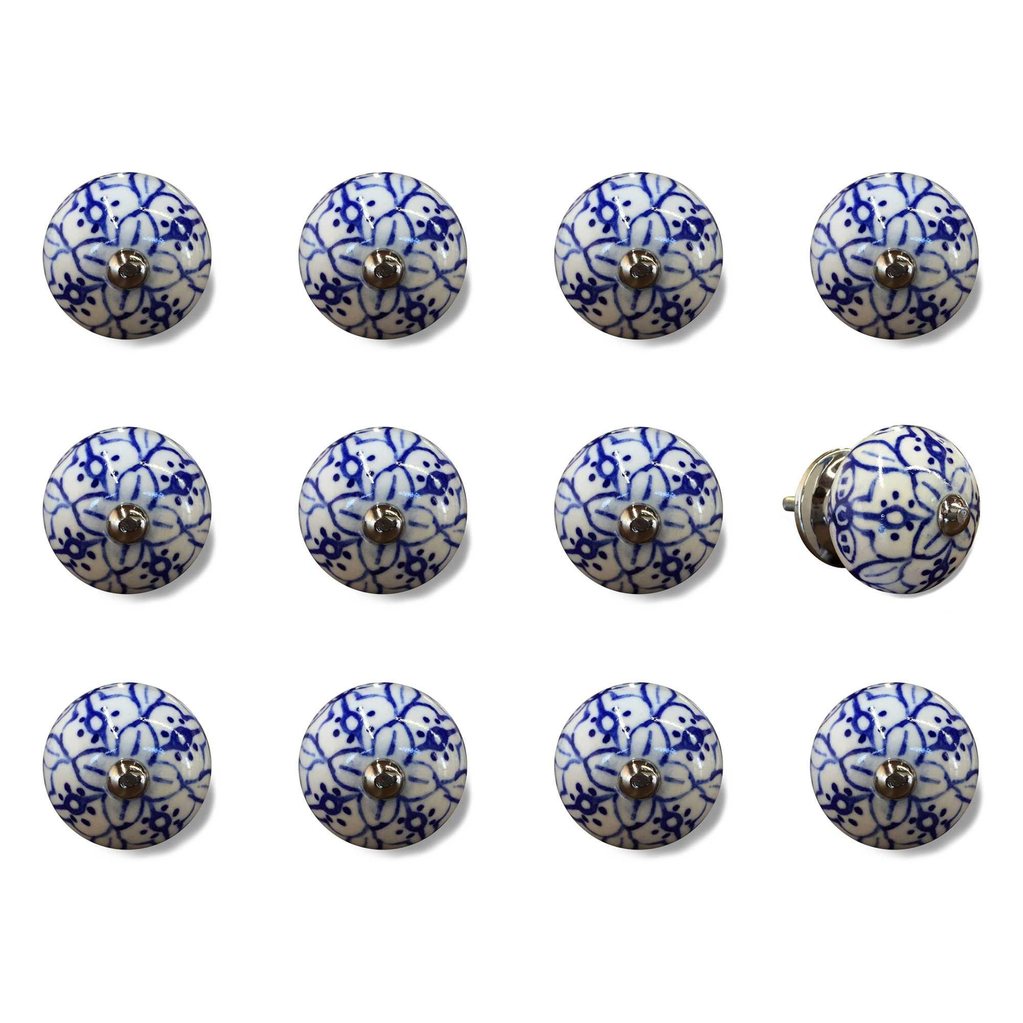 white. blue and silver knobs