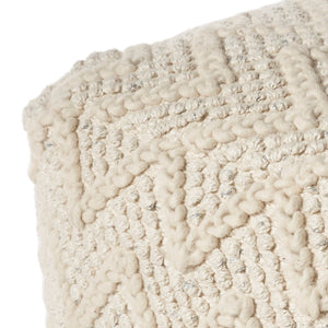 Ivory Hand Woven Wool Square Pouf With Chevron Pattern