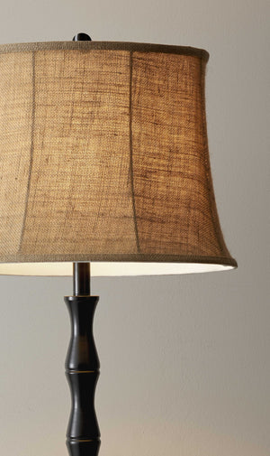 Floor Lamp Black Metal Textured Pole