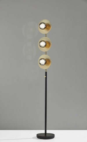 Soft Spotlight Floor Lamp With Three Black Metal And Smoked Glass LED Globes
