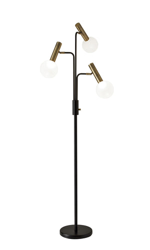 Sleek Black And Brass Finish LED 3-Arm Floor Lamp