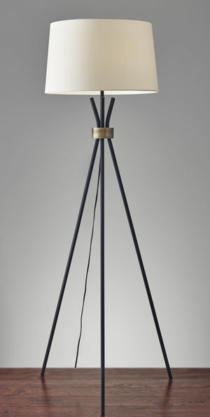 Black Metal Tripod Leg Floor Lamp With Antique Brass Accent