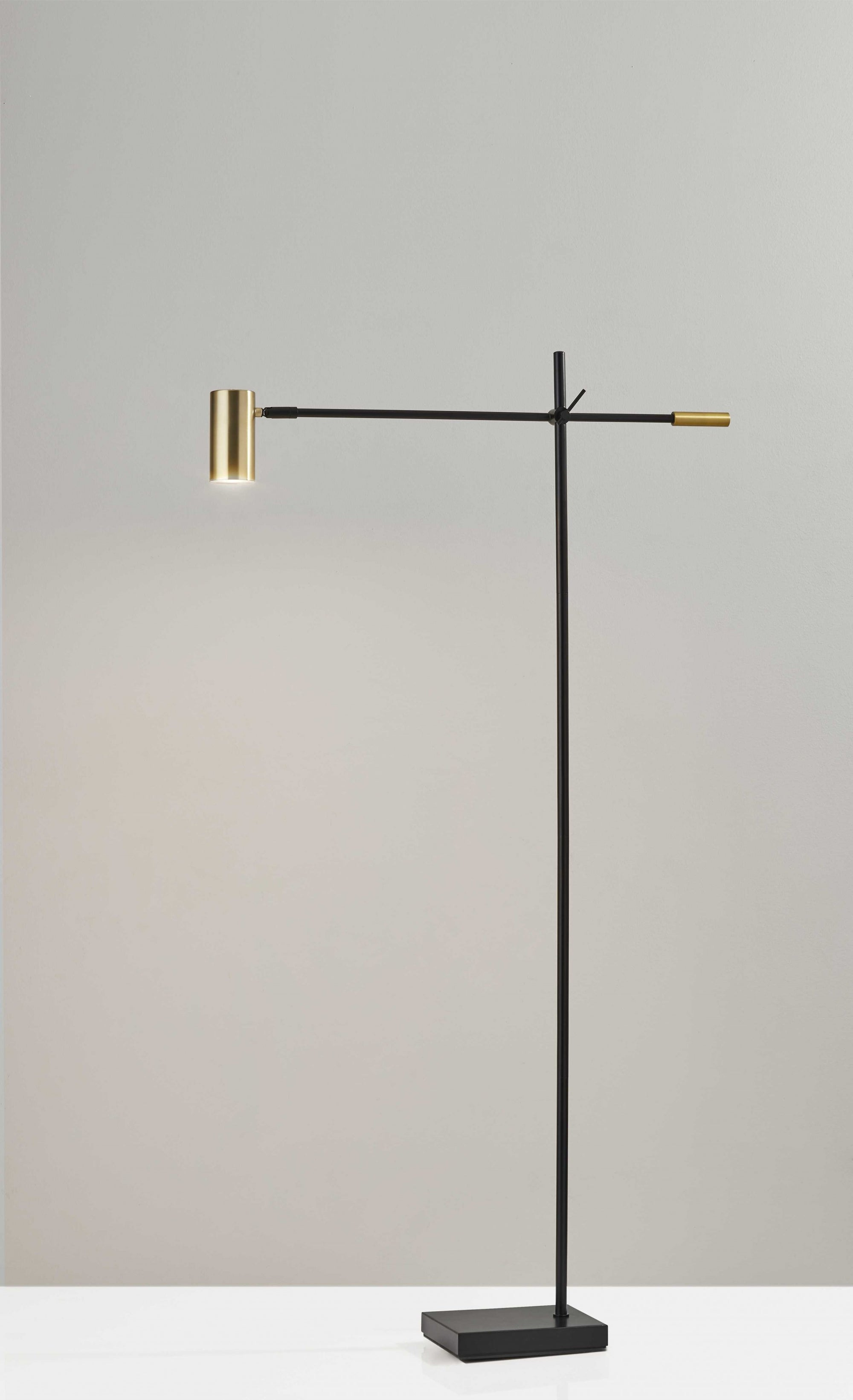 Black Metal Antique Brass Floor Lamp Tilt Arm LED Task Light