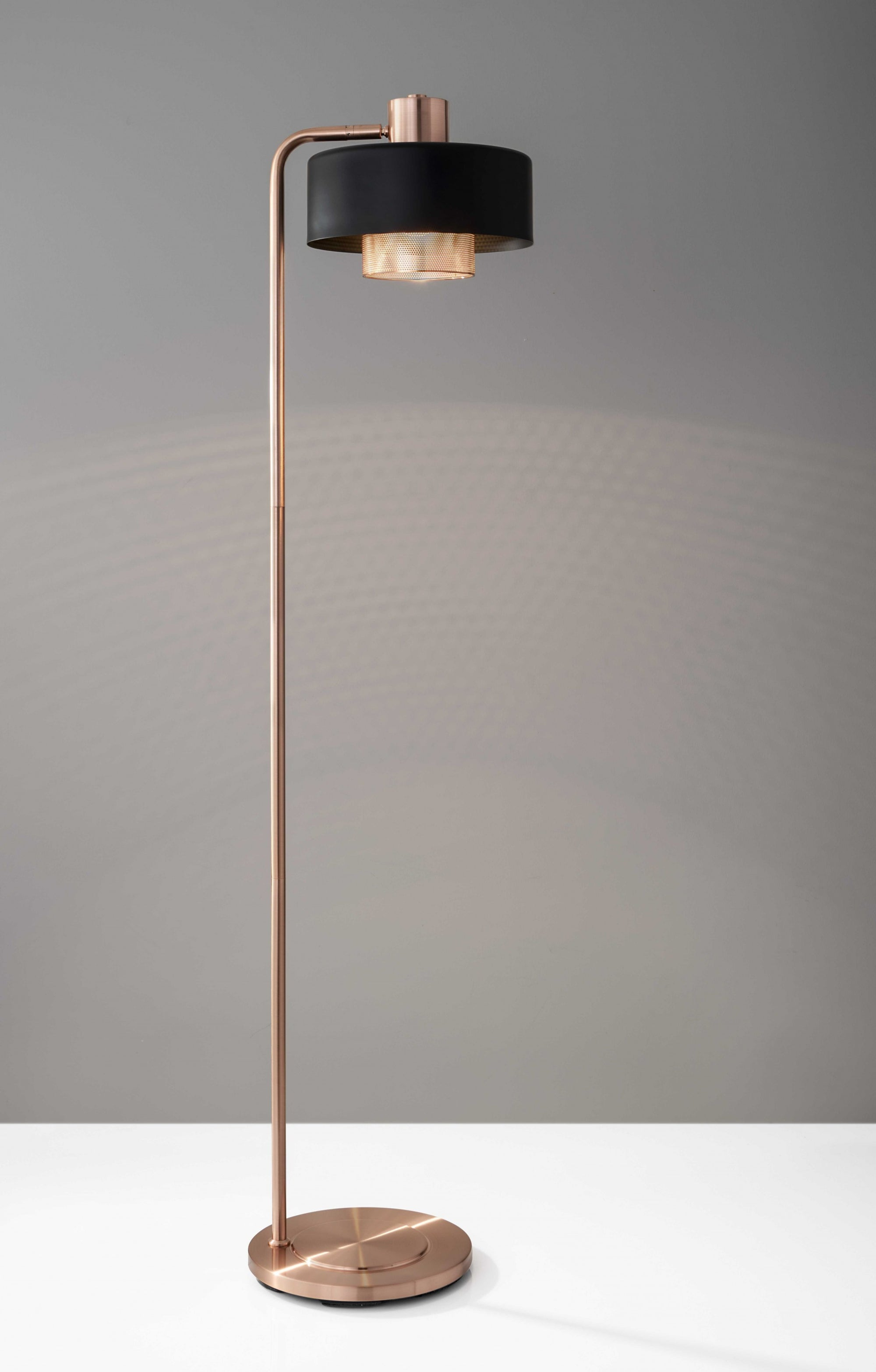 Copper Metal Floor Lamp With Contrasting Black Canopy Shade