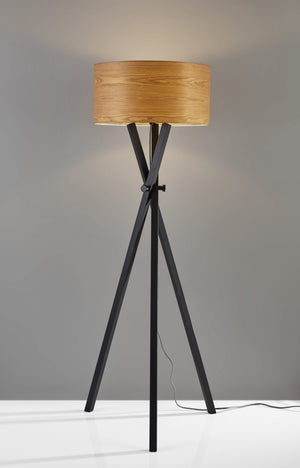 Architectonic Black Wood Tripod Floor Lamp With Rustic Wood Grain Shade