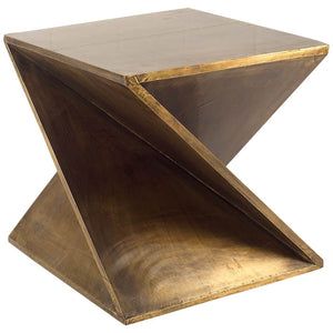 Z-Shaped Brass-Clad Wooden Accent Table