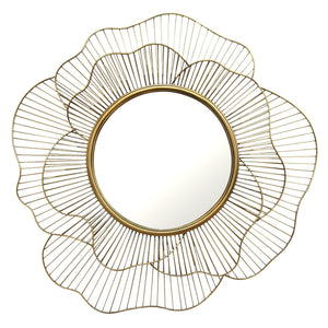 Round Gold Flower Mirror