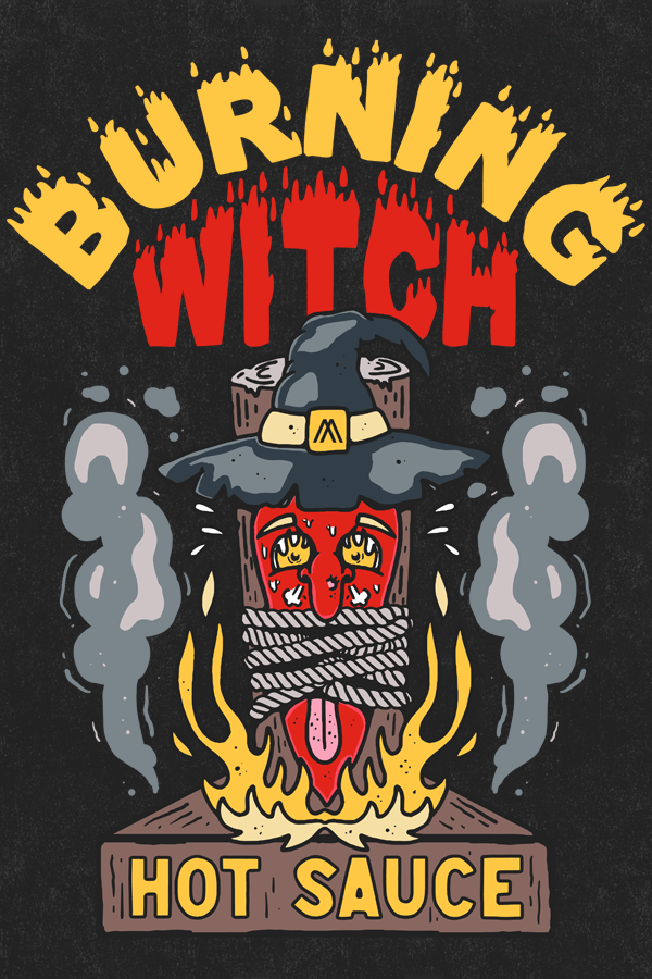 BURNING WITCH HOT SAUCE STICKER