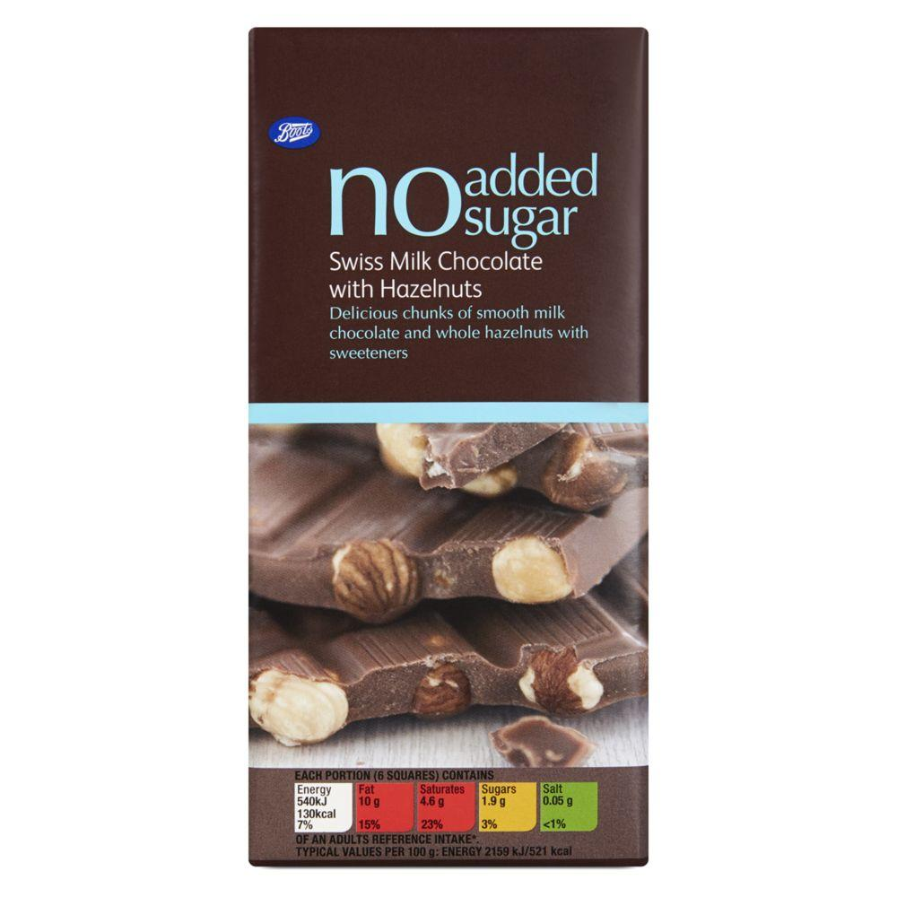 No Added Sugar Swiss Milk Chocolate With Hazelnuts 100G