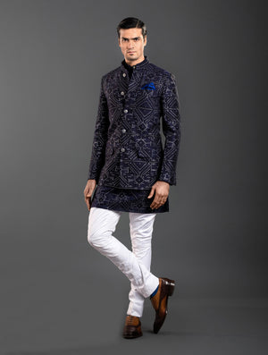 BLUE SILK BANDHGALA JACKET
