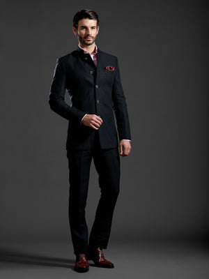 DISCERNING BLACK BANDHGALA SUIT