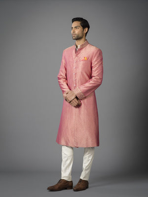 PALE PEACH EMBROIDERED SILK ACHKAN