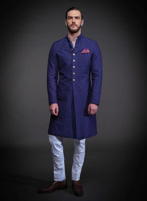BLUE EMBROIDERED ACHKAN