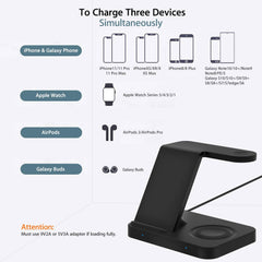 3 in 1 wireless charging station Qi Phone + iWatch + AirPods2/Pro or Buds