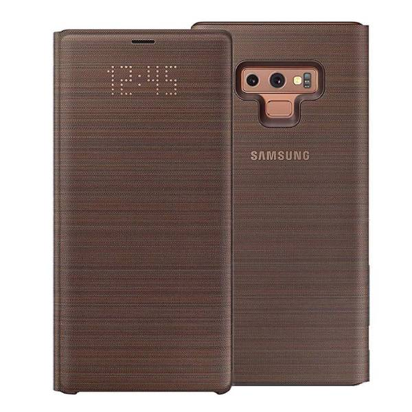 LED View Flip Cover Case Made for Samsung Galaxy Note9 Smartphone - Brown Color
