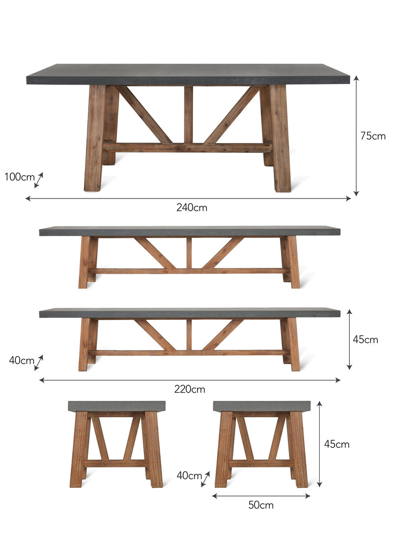 Chilson Outdoor Table Set Large at Oak and Ash Home