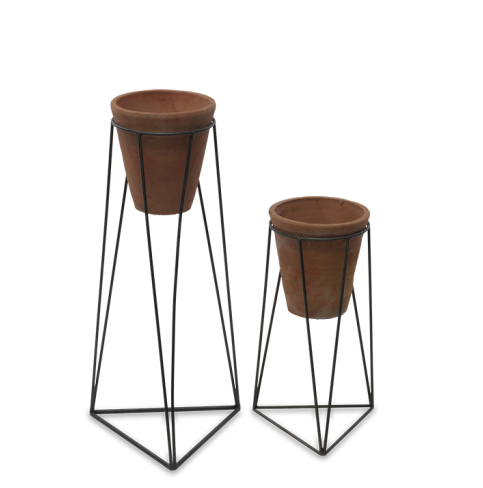 Jara Terracotta Planter With Stand at Oak and Ash Home