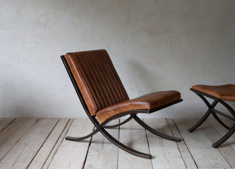 Narwana Ribbed Leather Lounger at Oak and Ash Home
