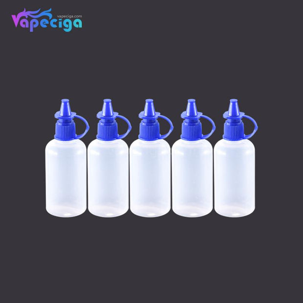 PET Semi-transparent Dropper Bottle 50ml with Black / Blue Cap 5PCs