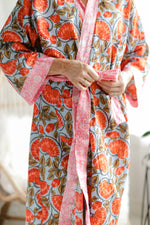 Load image into Gallery viewer, Robe - Kimono Style - Echinacea