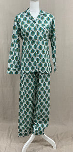 Load image into Gallery viewer, Long Sleeve Button Down Top w/ Drawstring Pants -  Puducherry Palm