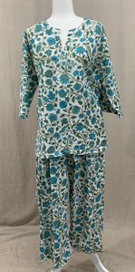 Tunic Top w/ Drawstring Pants - Turquoise Tiger-Eye