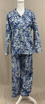 Load image into Gallery viewer, Long Sleeve Button Down Top w/ Drawstring Pants - Blue in Bombay