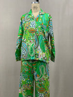 Load image into Gallery viewer, Long Sleeve  Down Top w/ Drawstring Pants -   Green Paisley