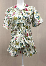Load image into Gallery viewer, Short Sleeve Button Top w/ Shorts - White Pink Floral