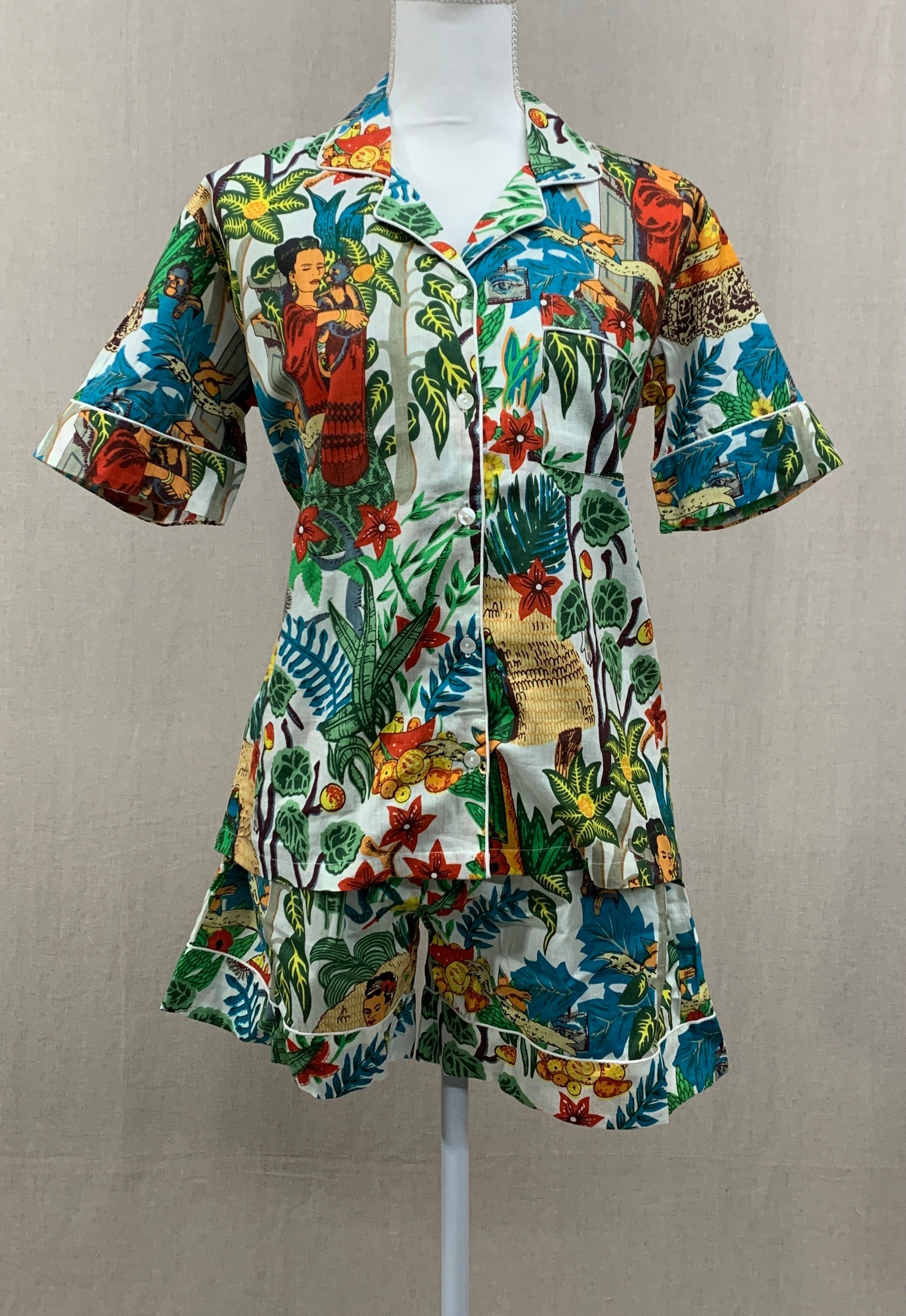 Short Sleeve Button Top w/ Shorts - Frida Kahlo