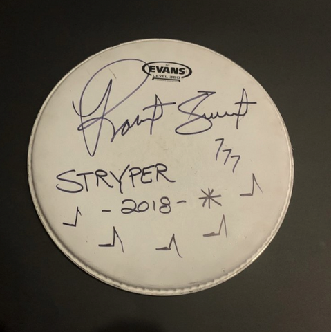 Robert Sweet (Stryper) Stage played & signed drum head. 2018 Australian tour.