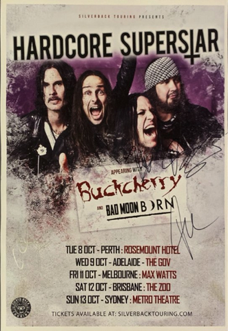 Hardcore Superstar - Signed 2019 Australian Tour Poster.