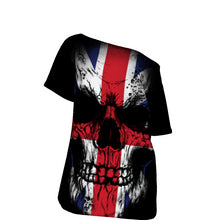 Load image into Gallery viewer, UK Skull Flad All-Over Print Off-Shoulder T-Shirt