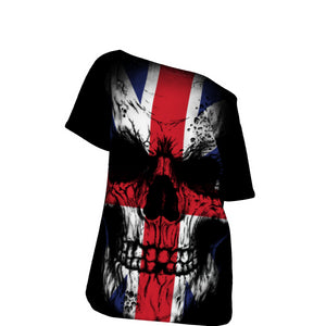 UK Skull Flad All-Over Print Off-Shoulder T-Shirt