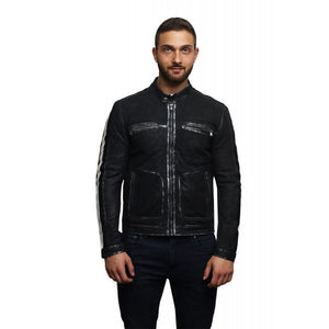 Men's Leather Biker Jacket Black -Vega