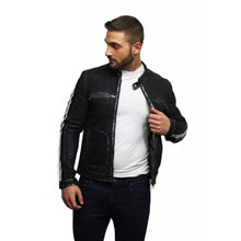 Load image into Gallery viewer, Men's Leather Biker Jacket Black -Vega