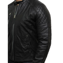 Load image into Gallery viewer, Men's Leather Biker Jacket Black - Cary