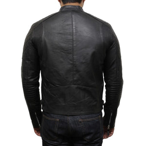 Men's Leather Biker Jacket Black - Cary