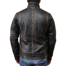Load image into Gallery viewer, Mens Black Biker Leather Jacket-Iron
