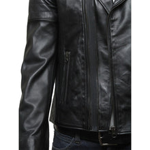 Load image into Gallery viewer, Men's Leather Biker Jacket Black - Fonz