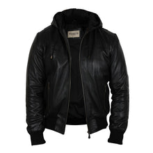 Load image into Gallery viewer, Men's Black Leather Hooded Jacket - Vulcan