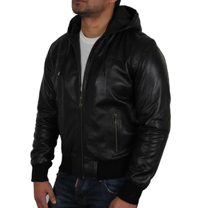 Men's Black Leather Hooded Jacket - Vulcan