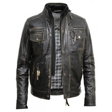 Load image into Gallery viewer, Mens Vintage Washed Black Biker Jacket - Sirius