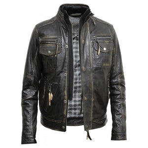 Mens Vintage Washed Black Biker Jacket - Sirius
