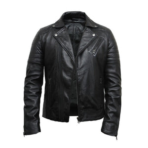 Men's Leather Biker Jacket Black - Fonz