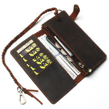 Load image into Gallery viewer, Crazy Horse Leather Hasp Wallet With Chain