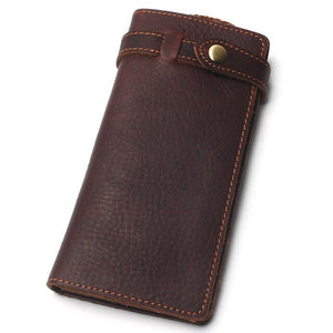 Crazy Horse Leather Hasp Wallet With Chain