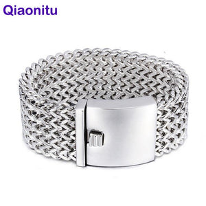 30MM Wide Heavy Punk Rock Men Link Mesh Bracelet Jewelry boys Hiphop 316L Titanium Stainless Steel Biker Bracelets Men's Bangle